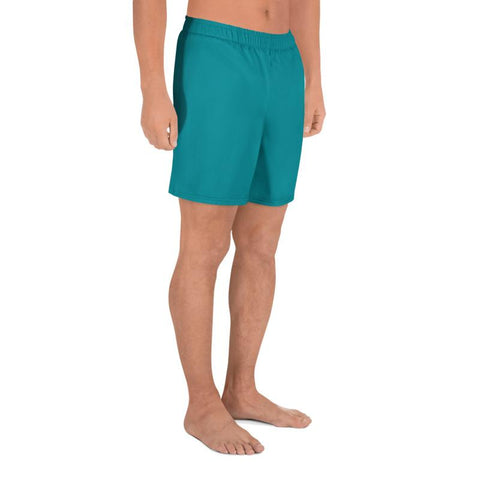 Bright Teal Blue Solid Color Print Premium Men's Athletic Long Shorts - Made in Europe-Men's Long Shorts-Heidi Kimura Art LLC Teal Blue Men's Shorts, Bright Teal Blue Solid Color Print Premium Quality Men's Athletic Long Fashion Shorts (US Size: XS-3XL) Made in Europe