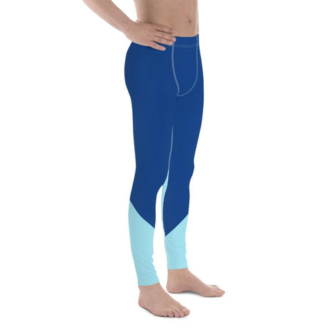 Blue Shade Duo Colors Premium Men's Leggings Meggings Tights- Made in USA/ EU-Men's Leggings-Heidi Kimura Art LLC Blue Men's Leggings, Blue Shade Duo Colors Print Sexy Meggings Men's Workout Gym Tights Leggings, Men's Performance Leggings, Compression Tights Pants - Made in USA/ EU (US Size: XS-3XL) Men's Compression Pants, Men's Workout Pants, Mens Fitness Compression Pants Sports Running Tights, Best Compression Pants