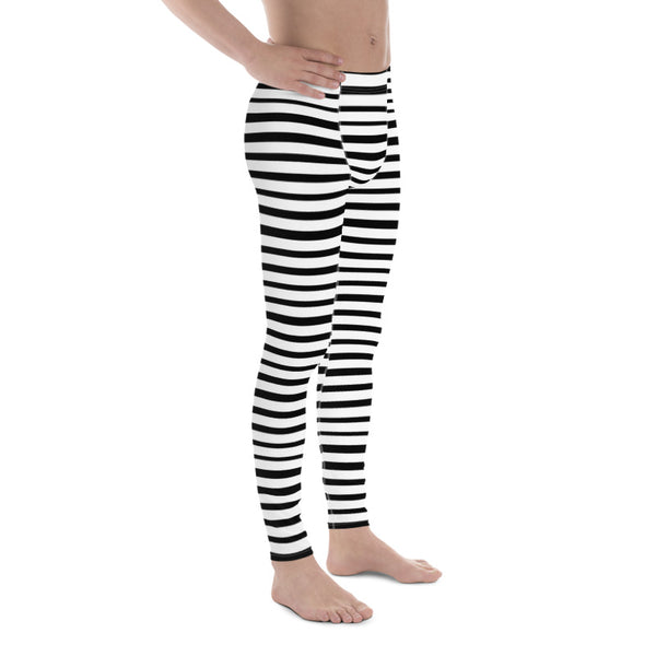 Black White Stripe Horizontal Print Premium Men's Leggings Stretchy Tights - Made in USA/EU-Men's Leggings-Heidi Kimura Art LLC