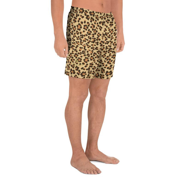 Brown Leopard Animal Print Men's Athletic Best Workout Long Shorts- Made in EU-Men's Long Shorts-Heidi Kimura Art LLC Brown Leopard Men's Shorts, Modern Brown Leopard Animal Print  Men's Athletic Best Long Shorts- Made in EU (US Size: XS-3XL) Best Men's Workout Shorts