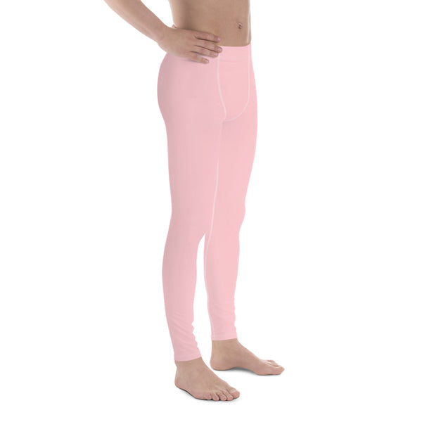Light Pink Solid Color Premium Men's Leggings Meggings Activewear Pants- Made in USA-Men's Leggings-Heidi Kimura Art LLC