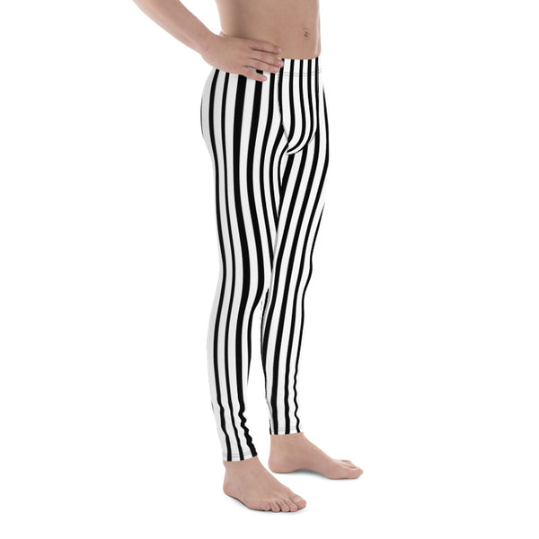 Black White Vertically Striped Meggings, Stripe Print Men's Circus Leggings - Made in USA/EU-Men's Leggings-Heidi Kimura Art LLC