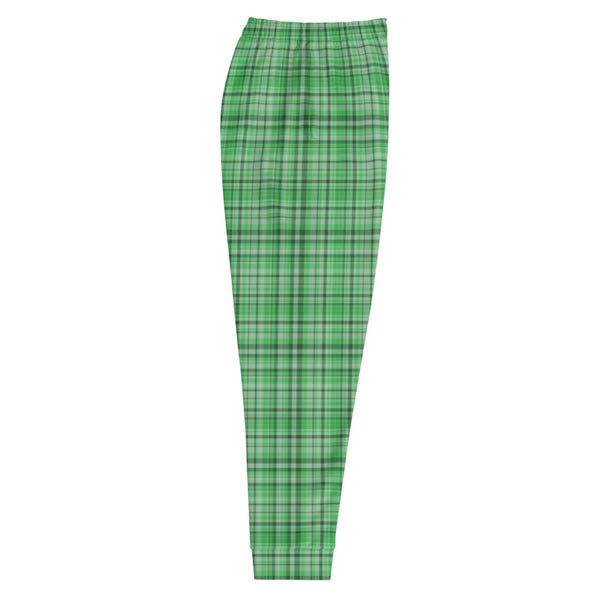 Green Plaid Tartan Print Premium Quality Men's Joggers Sweatpants- Made in EU-Men's Joggers-Heidi Kimura Art LLC