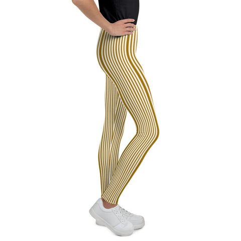 Brown Light Yellow Dense Stripe Print Youth Leggings Tight Pants- Made in USA/ EU-Youth's Leggings-Heidi Kimura Art LLC