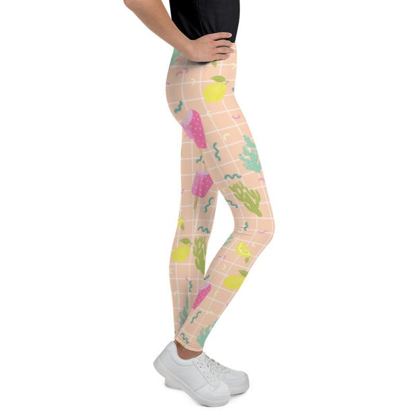 Nude Beige Ice Cream Cactus Print Youth Leggings Tight Workout Pants -Made in USA/EU-Youth's Leggings-Heidi Kimura Art LLC Nude Beige Ice Cream Tights, Nude Beige Arizona Style Cactus Lemon Ice Cream Cactus Print Premium Quality Youth Gym Sports Elastic Leggings Girl or Boy Bottoms, Winter Essentials Sports Gym Youth Leggings, 38-40 UPF, Sun-Protective Clothing, Made in USA/ Made in Europe (US Size: 8-20)