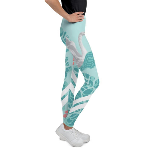Light Blue Swan Print Premium Youth Leggings Stylish Workout Pants - Made in USA/EU-Youth's Leggings-Heidi Kimura Art LLC