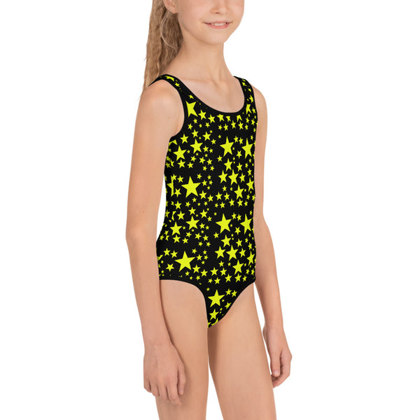 Black Yellow Stars Girl's Swimsuit, Black Star Girl's Swimsuit, Space Galaxy Print, Girl's Kids Premium Swimwear Sportswear Swimsuit - Made in USA/EU (US Size: 2T-7)