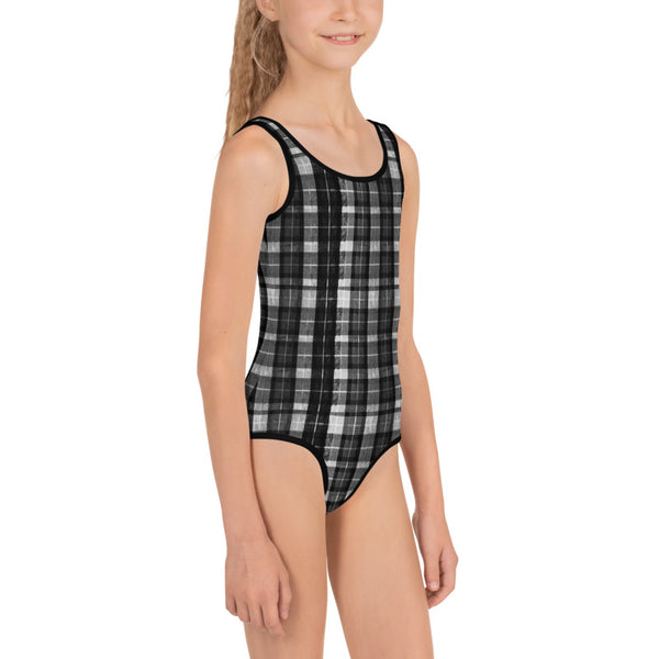 Gray Black Tartan Plaid Print Girls Kids Swimsuit Swimwear Bathing Suits -Made in USA/EU-Kid's Swimsuit (Girls)-Heidi Kimura Art LLC