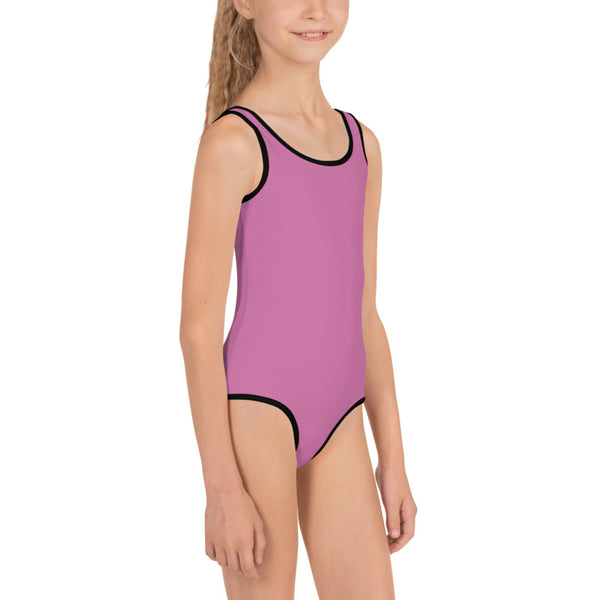 Solid Pink Color Designer Premium Quality Kids Swimsuit- Made in USA (US Size: 2T-7)-Kid's Swimsuit (Girls)-Heidi Kimura Art LLC Solid Pink Girl's Swimsuit, Fun Pink Solid Color Print Girl's Kids Luxury Premium Modern Fashion Swimsuit Swimwear Bathing Suit Children Sportswear- Made in USA (US Size: 2T-7)