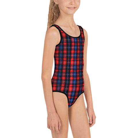 Red Plaid Print Girl's Swimsuit, Classic Tartan Plaid Preppy Kids Swimwear-Made in USA/EU-Kid's Swimsuit (Girls)-Heidi Kimura Art LLC