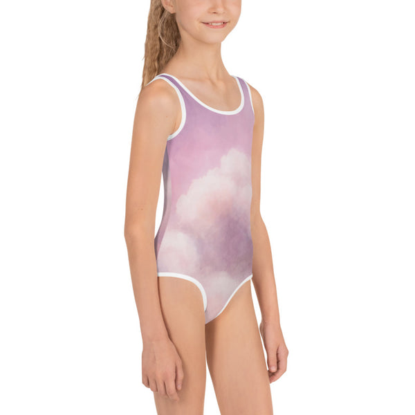 Purple Pink Abstract Clouds Print Girls Kids Swimsuit Cute Designer Swimwear-Made in USA/EU-Kid's Swimsuit (Girls)-Heidi Kimura Art LLC