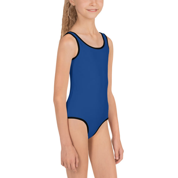 Navy Blue Solid Color Premium Quality Spandex Kids Swimsuit Swimwear- Made in USA/EU-Kid's Swimsuit (Girls)-Heidi Kimura Art LLC