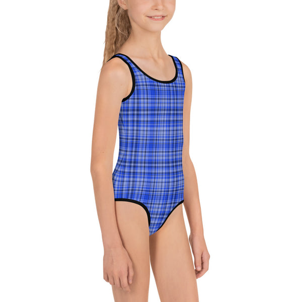 Blue Plaid Tartan Print Girls Kids Designer Swimsuit Swimwear Bathing Suits -Made in USA/EU-Kid's Swimsuit (Girls)-Heidi Kimura Art LLC Blue Plaid Girl's Swimsuits, Classic Blue And White Plaid Tartan Print Girl's Kids Luxury Premium Modern Fashion Swimsuit Swimwear Bathing Suit Children Sportswear Bathing Suits- Made in USA/EU (US Size: 2T-7)