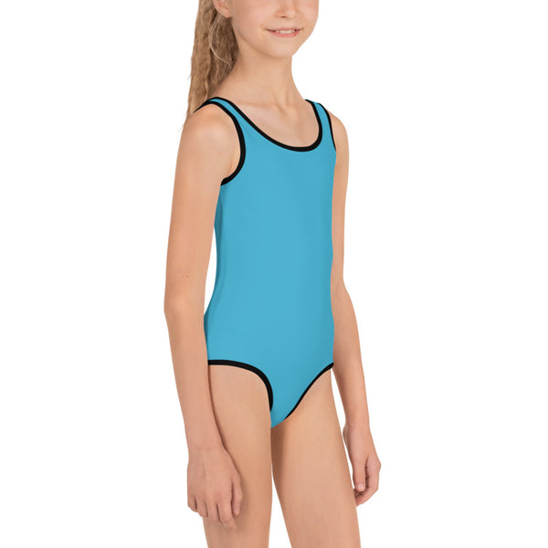 Light Blue Solid Color Premium Quality Kids Swimsuit - Made in USA (US Size: 2T-7)-Kid's Swimsuit (Girls)-Heidi Kimura Art LLC