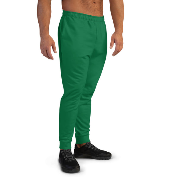 Dark Green Men's Joggers, Emerald Green Sweatpants For Men-Made in EU/MX-Heidikimurart Limited -Heidi Kimura Art LLC Dark Green Designer Men's Joggers, Best Emerald Green Solid Color Sweatpants For Men, Modern Slim-Fit Designer Ultra Soft & Comfortable Men's Joggers, Men's Jogger Pants-Made in EU/MX (US Size: XS-3XL)