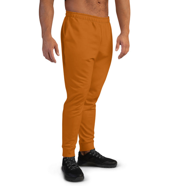 Brown Designer Men's Joggers, Best Brown Solid Color Sweatpants For Men, Modern Slim-Fit Designer Ultra Soft & Comfortable Men's Joggers, Men's Jogger Pants-Made in EU/MX (US Size: XS-3XL)