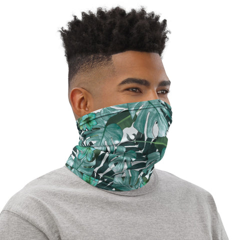 Green Tropical Print Neck Gaiter, Palm Leaf Print Face Mask Shield, Luxury Premium Quality Cool And Cute One-Size Reusable Washable Scarf Headband Bandana - Made in USA/EU, Face Neck Warmers, Non-Medical Breathable Face Covers, Neck Gaiters