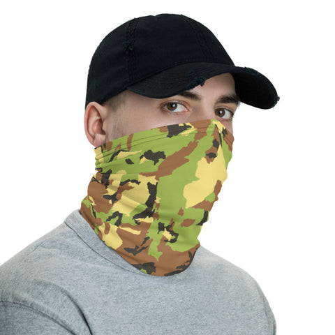 Green Brown Camo Neck Gaiter, Army Camouflage Military Face Mask Shield, Luxury Premium Quality Cool And Cute One-Size Reusable Washable Scarf Headband Bandana - Made in USA/EU, Face Neck Warmers, Non-Medical Breathable Face Covers, Neck Gaiters