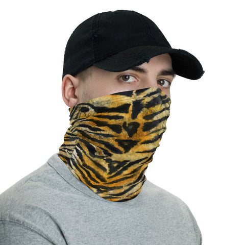 Orange Tiger Striped Neck Gaiter, Animal Print Face Mask Shield, Luxury Premium Quality Cool And Cute One-Size Reusable Washable Scarf Headband Bandana - Made in USA/EU, Face Neck Warmers, Non-Medical Breathable Face Covers, Neck Gaiters, Face Mouth Cloth Coverings