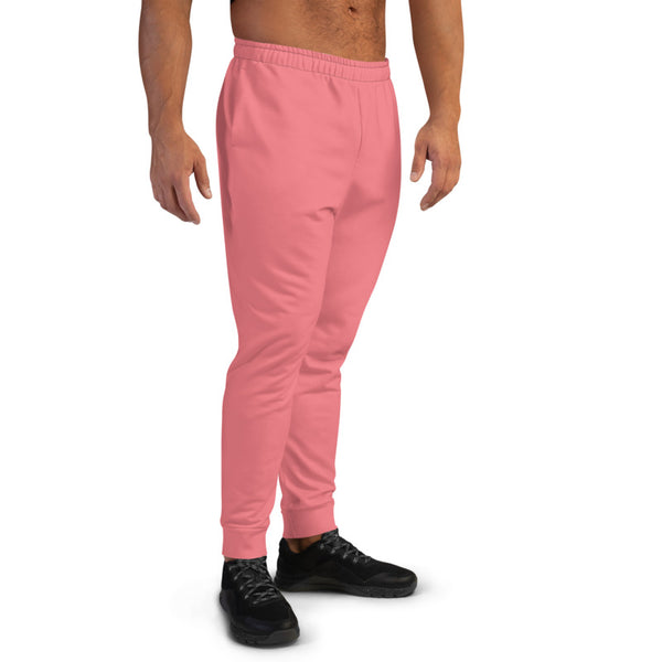 Peach Pink Designer Men's Joggers, Best Pale Pink Solid Color Sweatpants For Men, Modern Slim-Fit Designer Ultra Soft & Comfortable Men's Joggers, Men's Jogger Pants-Made in EU/MX (US Size: XS-3XL)