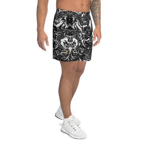 Marbled Men's Athletic Long Shorts, Black Marble Print Short Pants For Men -Made in EU-Men's Long Shorts-Printful-Heidi Kimura Art LLC