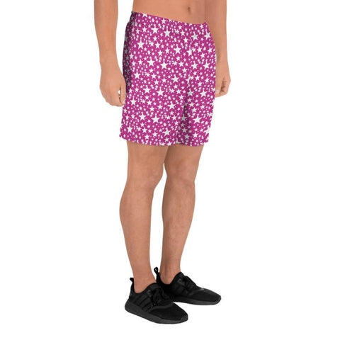 Pink White Stars Shapes Pattern Print Men's Athletic Long Shorts Bottom Pants - Made in EU-Men's Long Shorts-Heidi Kimura Art LLC