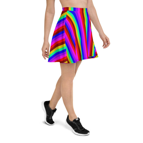 Rainbow Stripe Skater Skirt, Gay Pride Parade Best Colorful Women's Designer Polyester Spandex Mid-Thigh Length Elastic Waistband Skater Skirt, Made in USA/ Europe (US Size: XS-3XL)