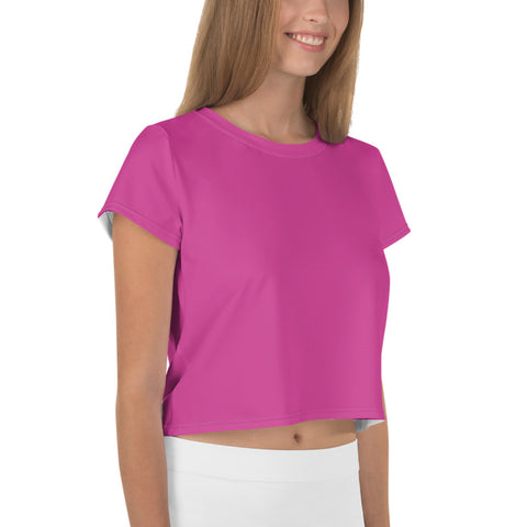 Cute Solid Pink Crop Tee, Minimalist Modern Pink Color Cropped Short T-Shirt Outfit, Crop Tee Top Women's T-Shirt, Made in Europe, (US Size: XS-3XL) Plus Size Available