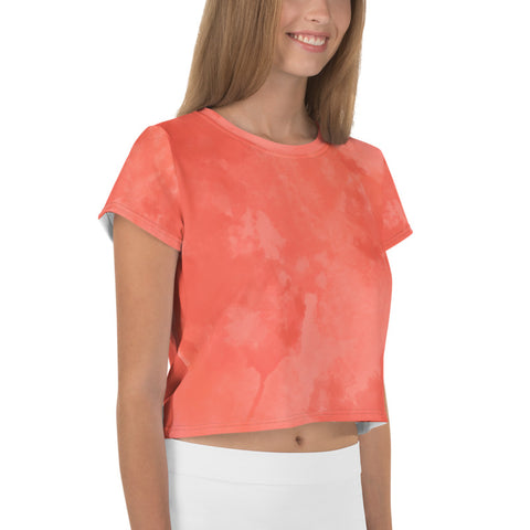 Coral Tie Dye Crop Tee, Coral Orange Pink Abstract Cropped Short T-Shirt Outfit, Crop Tee Top Women's T-Shirt, Made in Europe, (US Size: XS-3XL) Plus Size Available