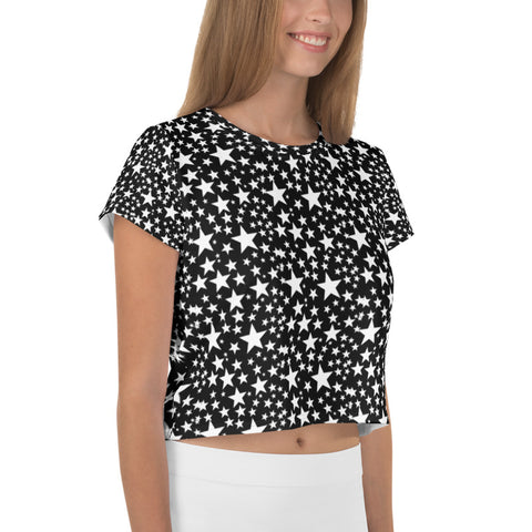 White Star Pattern Crop Tee, Star Print Best Cropped Short T-Shirt Outfit, Crop Tee Top Women's T-Shirt, Made in Europe, (US Size: XS-3XL) Plus Size Available