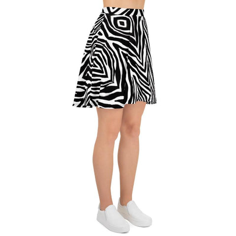 Zebra Animal Print Mid-thigh Soft Women's Skater Skirt- Made in USA/EU (US Size: XS-3XL)-Skater Skirt-Heidi Kimura Art LLC