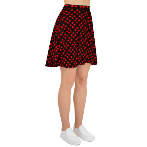 Red Buffalo Plaid Skater Skirt, Plaid Print Preppy Women's Tennis Skirts, High-Waisted Mid-Thigh Women's Skater Skirt, Plus Size Available - Made in USA/EU (US Size: XS-3XL) Plaid Skater Skirt Outfit A Line High Waisted Skirt