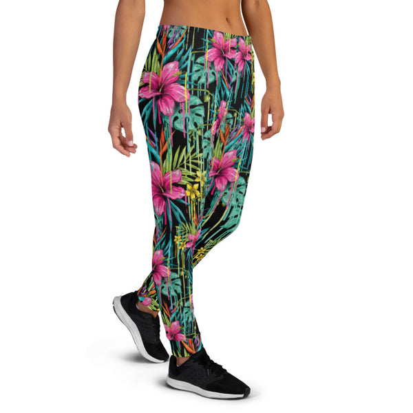 Black Pink Floral Women's Joggers, Tropical Leaf Print Slim Fit Soft Women's Joggers Sweatpants -Made in EU (US Size: XS-3XL) Plus Size Available, Women's Joggers, Soft Joggers Pants Womens, Women's Long Joggers, Women's Soft Joggers, Lightweight Jogger Pants Women's, Women's Athletic Joggers, Women's Jogger Pants