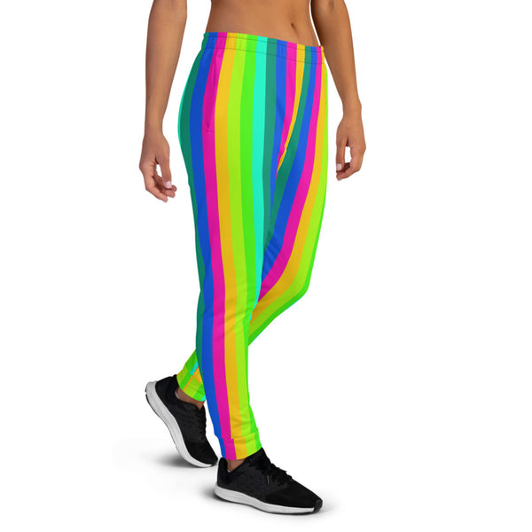 Bright Rainbow Stripe Women's Joggers, Gay Pride Festival Colorful Vertical Stripes Circus Slit Fit Soft Women's Joggers Sweatpants -Made in EU (US Size: XS-3XL) Plus Size Available, Women's Joggers, Soft Joggers Pants Womens, Women's Long Joggers, Women's Soft Joggers, Lightweight Jogger Pants Women's, Women's Athletic Joggers, Women's Jogger Pants