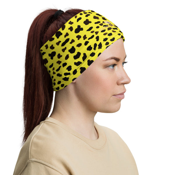 Yellow Leopard Cheetah Neck Gaiter, Animal Print Luxury Premium Quality Cool And Cute One-Size Reusable Washable Scarf Headband Bandana - Made in USA/EU, Face Neck Warmers, Non-Medical Breathable Face Covers, Neck Gaiters