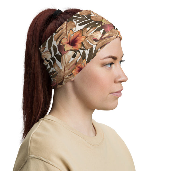 Fall Tropical Print Neck Gaiter, Palm Leaf Print Face Mask Shield, Luxury Premium Quality Cool And Cute One-Size Reusable Washable Scarf Headband Bandana - Made in USA/EU, Face Neck Warmers, Non-Medical Breathable Face Covers, Neck Gaiters