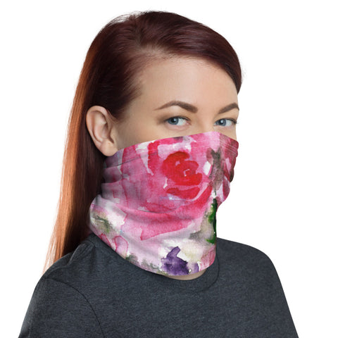 Pink Floral Face Mask, Classic Rose Flower Print Luxury Premium Quality Cool And Cute One-Size Reusable Washable Scarf Headband Bandana - Made in USA/EU, Face Neck Warmers, Non-Medical Breathable Face Covers, Neck Gaiters
