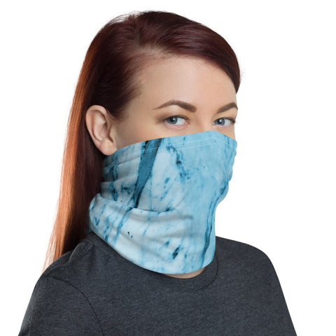 Blue Marble Face Mask Shield, Marble Print Luxury Premium Quality Cool And Cute One-Size Reusable Washable Scarf Headband Bandana - Made in USA/EU, Face Neck Warmers, Non-Medical Breathable Face Covers, Neck Gaiters