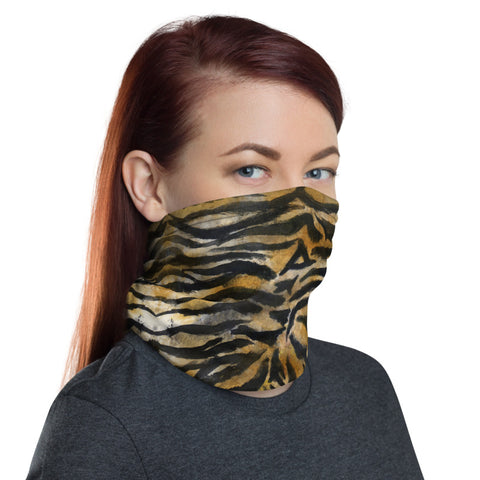 Brown Tiger Striped Neck Gaiter, Animal Print Face Mask Shield, Luxury Premium Quality Cool And Cute One-Size Reusable Washable Scarf Headband Bandana - Made in USA/EU, Face Neck Warmers, Non-Medical Breathable Face Covers, Neck Gaiters, Face Mouth Cloth Coverings