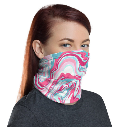 Pink Blue Marble Neck Gaiter, Abstract Face Mask Shield, Luxury Premium Quality Cool And Cute One-Size Reusable Washable Scarf Headband Bandana - Made in USA/EU, Face Neck Warmers, Non-Medical Breathable Face Covers, Neck Gaiters