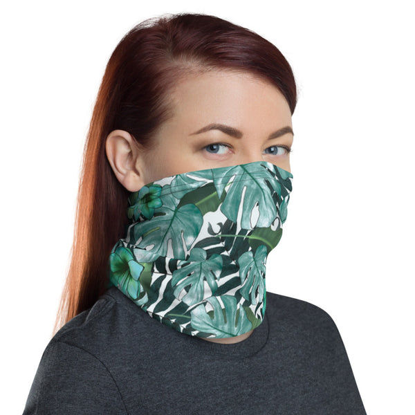 Green Tropical Leaf Face Mask, Washable Reusable Designer Neck Gaiter-Heidi Kimura Art LLC-Heidi Kimura Art LLC