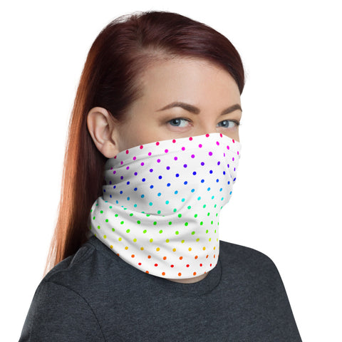 White Rainbow Dots Neck Gaiter, Polka Dots Washable Luxury Premium Quality Cool And Cute One-Size Reusable Washable Scarf Headband Bandana - Made in USA/EU, Face Neck Warmers, Non-Medical Breathable Face Covers, Neck Gaiters