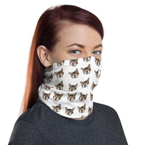 Cat White Face Mask Shield, Luxury Premium Quality Cool And Cute One-Size Reusable Washable Scarf Headband Bandana - Made in USA/EU, Face Neck Warmers, Non-Medical Breathable Face Covers, Neck Gaiters