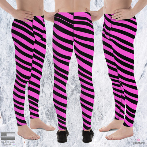 Black & Pink Striped Meggings, Diagonally Striped Men's Running Tights- Made in USA/EU-Men's Leggings-Heidi Kimura Art LLC