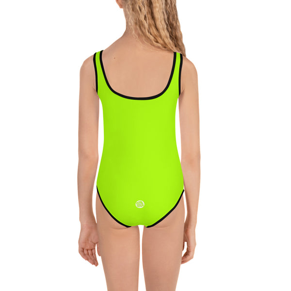 Neon Green Girl's Swimsuit, Bright Light Green Solid Print Kids Swimwear-Made in USA/EU-Kid's Swimsuit (Girls)-Heidi Kimura Art LLC