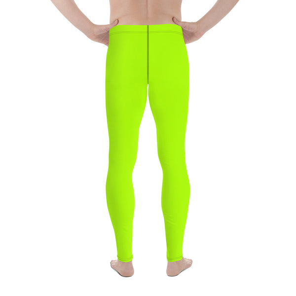 Hikari Lime Green Neon Men's Running Leggings & Run Tights Meggings Activewear- Made in USA/ Europe (US Size: XS-3XL)