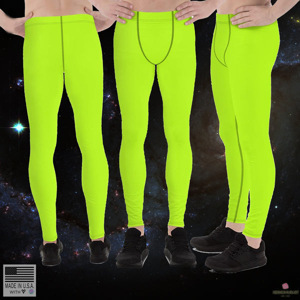 Lime Green Neon Solid Color Print Men's Running Leggings & Run Tights Meggings Activewear, Compression Men's Sports Tights- Made in USA/ Europe (US Size: XS-3XL) Lime Green Neon Men's Running Leggings Meggings Activewear- Made in USA - Heidi Kimura Art LLC
