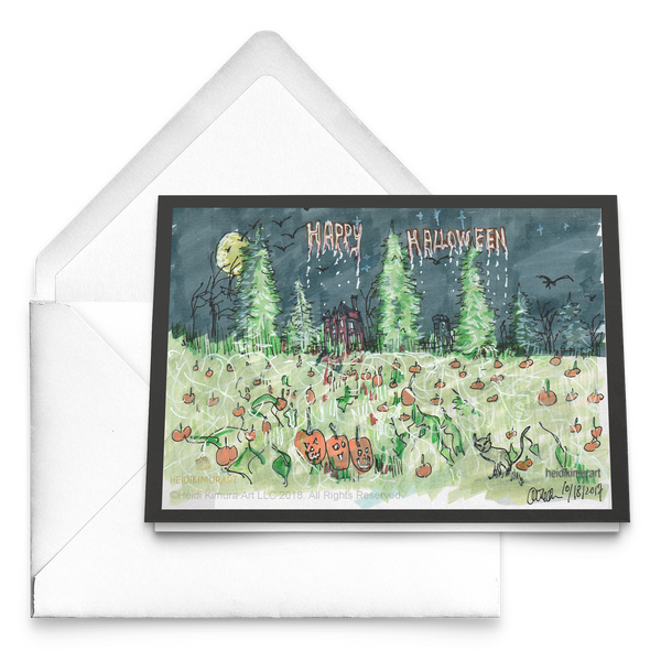 Pumpkin Patch Folded Greeting Folded Halloween Cards, Packs of 10 pcs, 30 pcs, 50 pcs-Cards-Heidi Kimura Art LLC