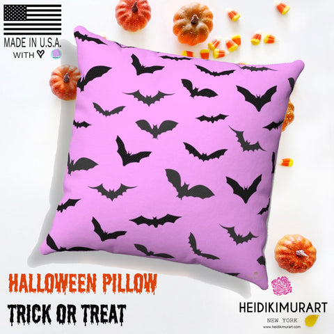 Cute Pink Gray Black Bats Print Halloween Pillow Spun Polyester Square Pillow- Made in USA-Pillow-Heidi Kimura Art LLC