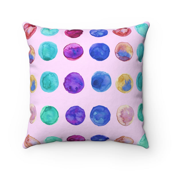 Light Pink Cute Swedish Dots Spun Polyester Square Pillow Designed and Made in USA-Pillow-Heidi Kimura Art LLC
